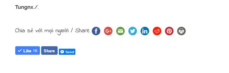 Chèn nút chia sẻ mạng xã hội vào website - Chia sẻ kiến thức WordPress Tungnx