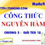 Công thức nguyên hàm - nguyên hàm toán 12 - học toán 12 online - Tungnx