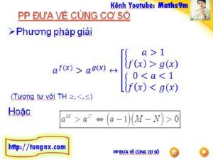 Phương pháp đưa về cùng cơ số giải bất phương trinh mũ - học toán 12 online - Tungnx