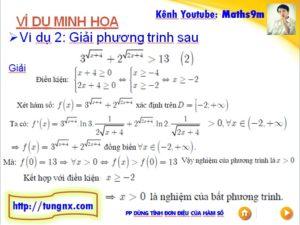 Ví dụ Giải bất phương trình mũ bằng cách dùng tính đơn điệu - học toán 12 online - Maths9m