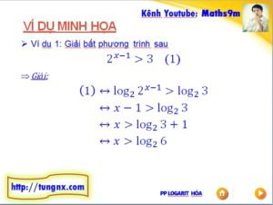 Ví dụ Giải bất phương trình mũ bằng phương pháp logarit hóa - học toán 12 online miễn phí - Tungnx - Maths9m