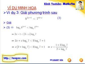 bài tập Ví dụ Giải bất phương trình mũ bằng phương pháp logarit hóa - học toán 12 online miễn phí - Tungnx - Maths9m