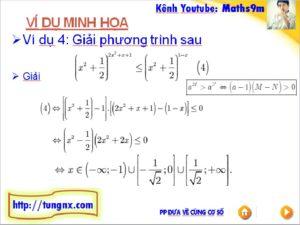 ví dụ về Phương pháp đưa về cùng cơ số giải bất phương trinh mũ - học toán 12 online - Tungnx