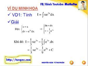 Bài tập Nguyên hàm từng phần - Chuyên đề nguyên hàm - Học toán 12 Online - Maths9m