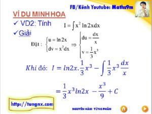 Bài tập về Nguyên hàm từng phần - Chuyên đề nguyên hàm - Học toán 12 Online - Maths9m