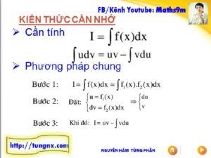 Phương pháp Nguyên hàm từng phần - Chuyên đề nguyên hàm - Học toán 12 Online - Maths9m