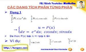 Phương pháp tích phân từng phần dạng 1 - chuyên đề tích phân từng phần - học toán 12 online - Tungnx