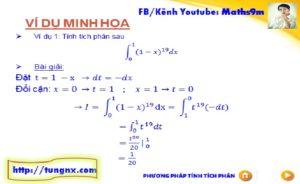 Ví dụ Phương pháp đổi biến số tính tích phân dạng 1 - chuyên đề tích phân - Toán lớp 12 - Tungnx