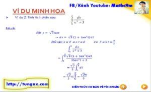 Ví dụ Phương pháp đổi biến số tính tích phân dạng 2 - chuyên đề tích phân - Toán lớp 12 - Tungnx