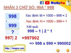 bài tập ví dụ về Cách nhân nhẩm 2 số có 3 chữ số dạng 99Ax99B với nhau - Mẹo toán học hay cho học sinh tiểu học và THCS